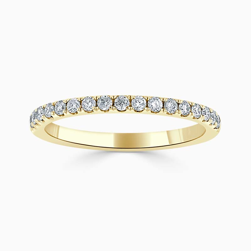 18ct Yellow Gold 1.80mm Round Brilliant Cutdown Set Half Eternity Ring