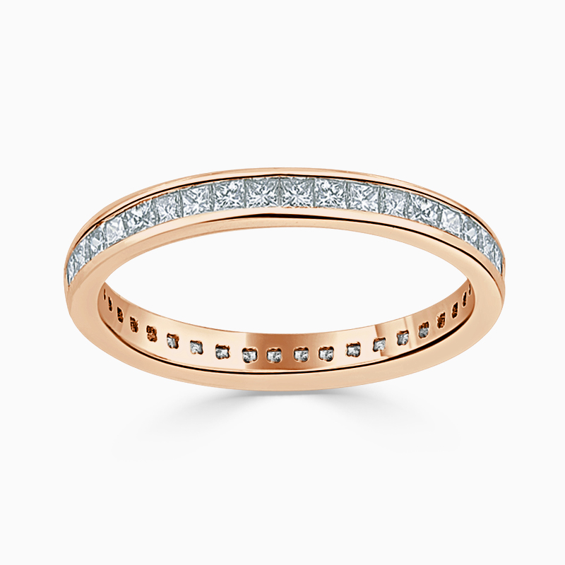 18ct Rose Gold 2.50mm Princess Cut Channel Set Full Eternity Ring