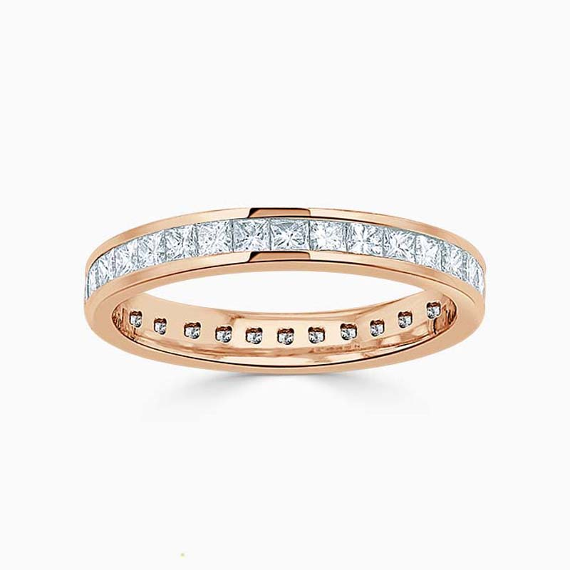18ct Rose Gold 3.00mm Princess Cut Channel Set Full Eternity Ring