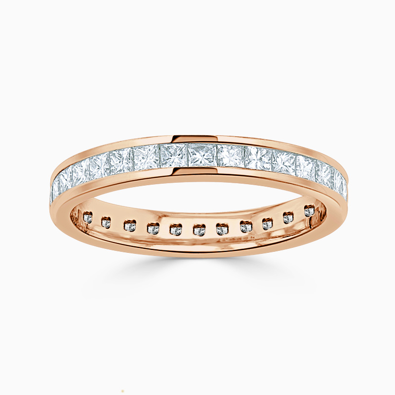 18ct Rose Gold 3.25mm Princess Cut Channel Set Full Eternity Ring
