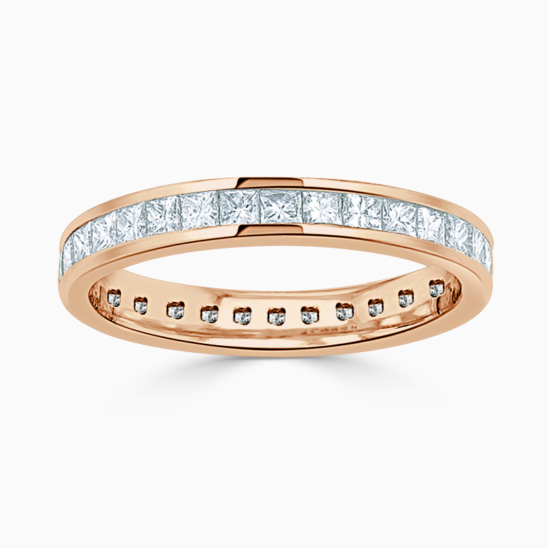 18ct Rose Gold 3.50mm Princess Cut Channel Set Full Eternity Ring