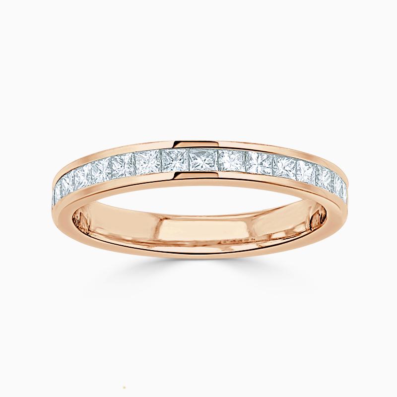 18ct Rose Gold 2.50mm Princess Cut Channel Set Half Eternity Ring