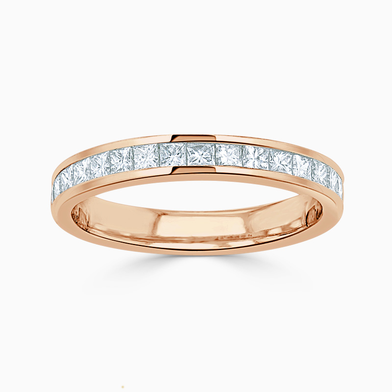 18ct Rose Gold 2.75mm Princess Cut Channel Set Half Eternity Ring