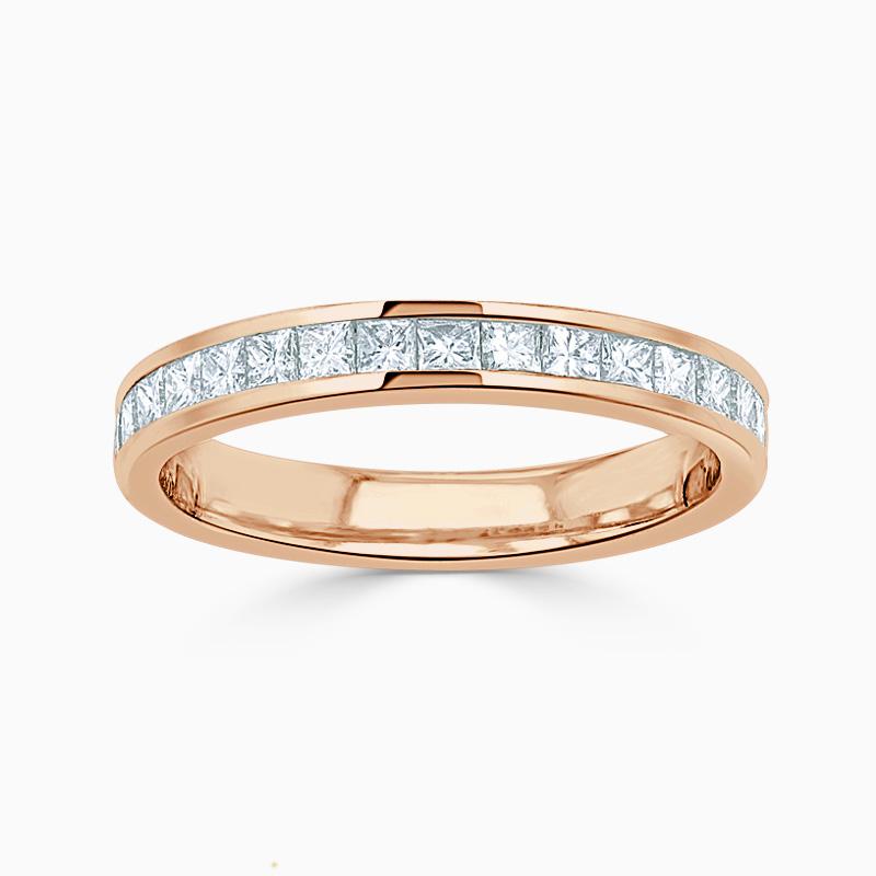 18ct Rose Gold 2.75mm Princess Cut Channel Set Half Eternity Ring