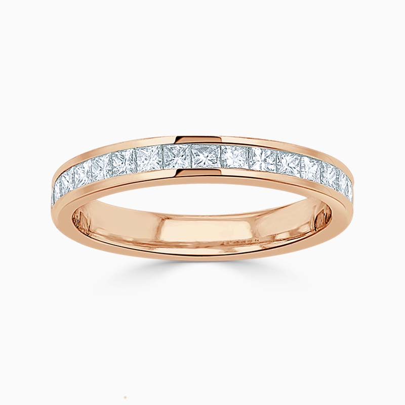 18ct Rose Gold 3.00mm Princess Cut Channel Set Half Eternity Ring