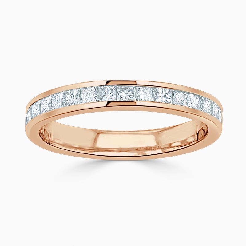 18ct Rose Gold 3.25mm Princess Cut Channel Set Half Eternity Ring