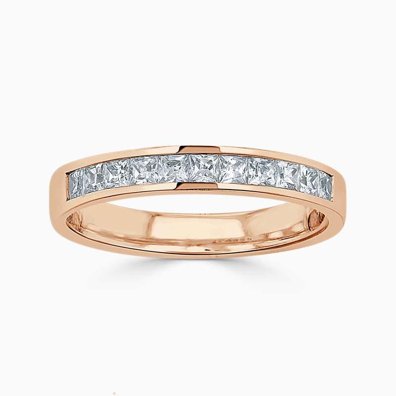 18ct Rose Gold 3.50mm Princess Cut Channel Set Half Eternity Ring