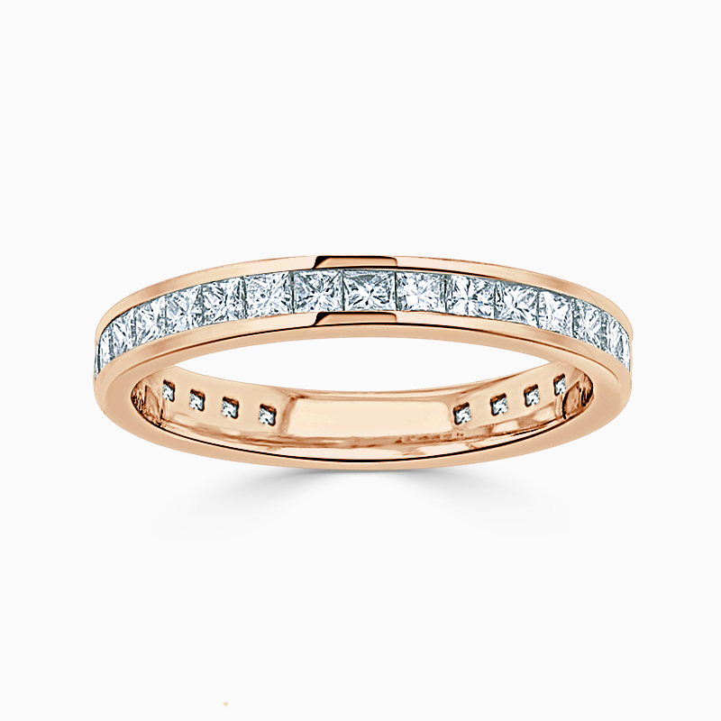 18ct Rose Gold 2.50mm Princess Cut Channel Set Three Quarter Eternity Ring