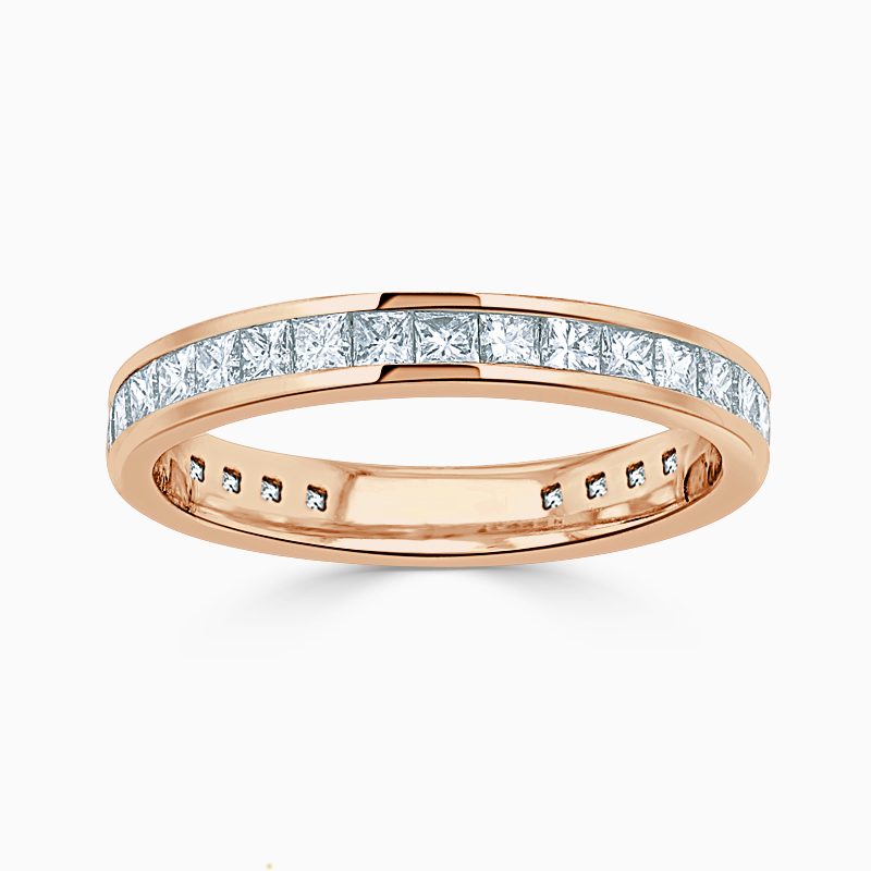 18ct Rose Gold 3.00mm Princess Cut Channel Set Three Quarter Eternity Ring