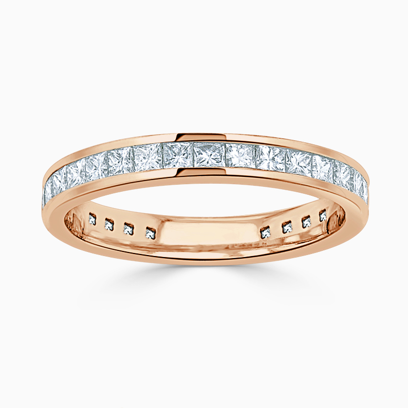 18ct Rose Gold 3.25mm Princess Cut Channel Set Three Quarter Eternity Ring