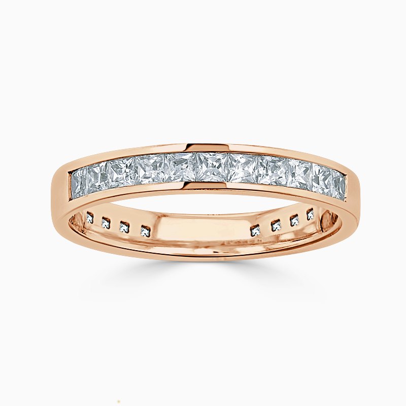 18ct Rose Gold 3.50mm Princess Cut Channel Set Three Quarter Eternity Ring