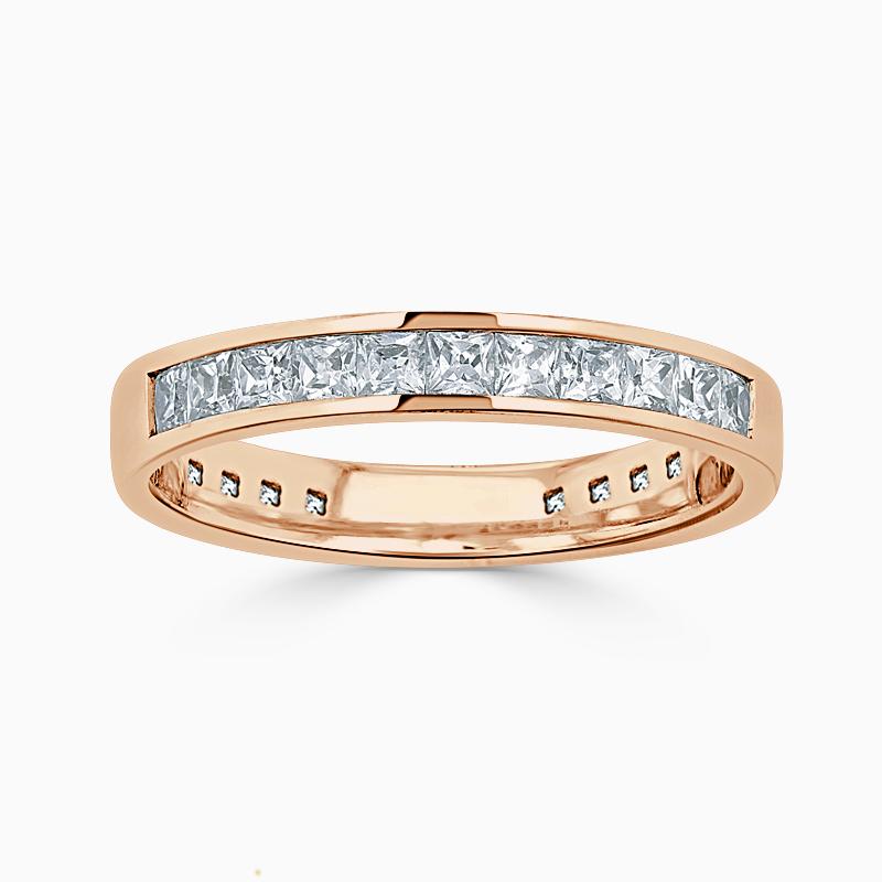18ct Rose Gold 3.50mm Princess Cut Channel Set Three Quarter Eternity Ring