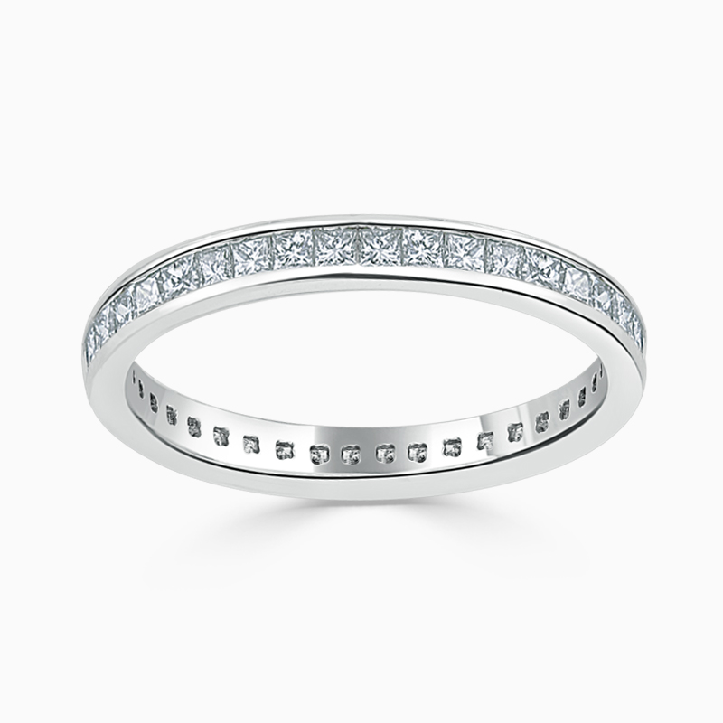 18ct White Gold 2.50mm Princess Cut Channel Set Full Eternity Ring