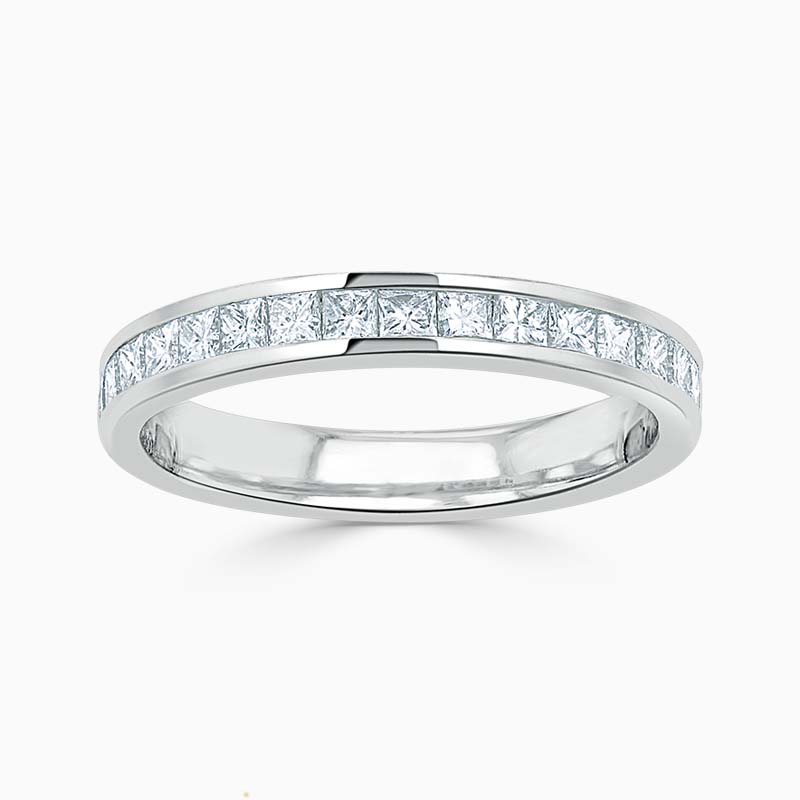 18ct White Gold 3.00mm Princess Cut Channel Set Half Eternity Ring