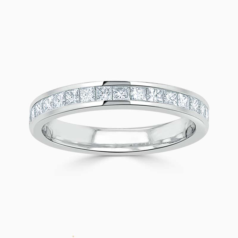 18ct White Gold 3.00mm Princess Cut Channel Set Half Eternity Ring