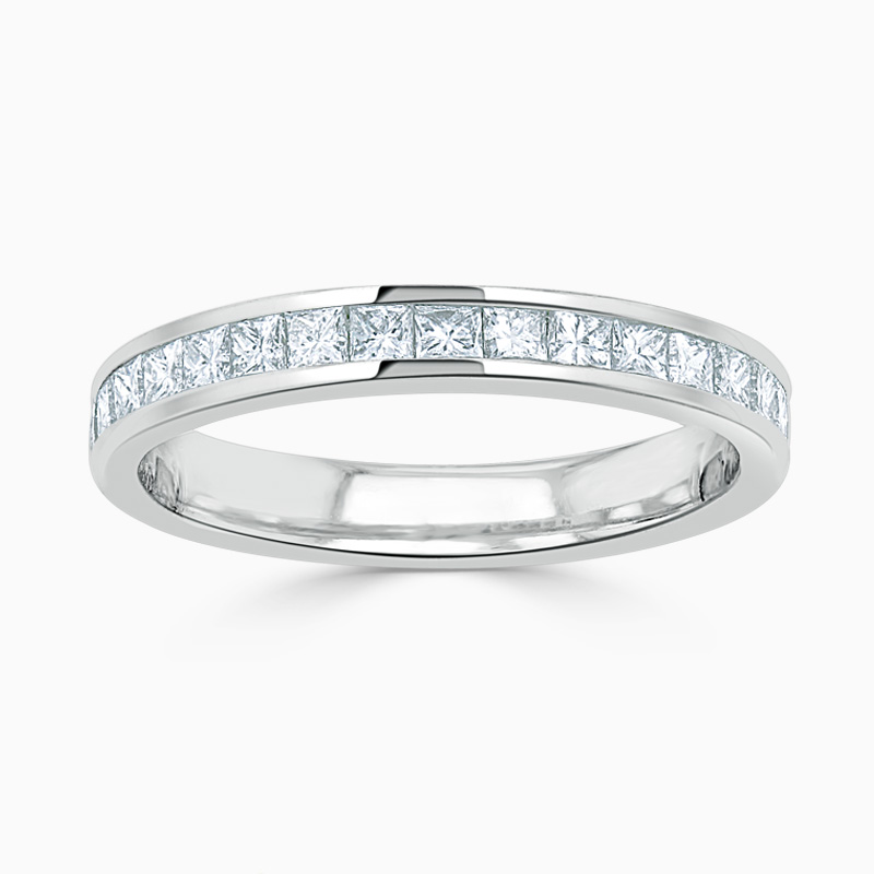 18ct White Gold 3.25mm Princess Cut Channel Set Half Eternity Ring