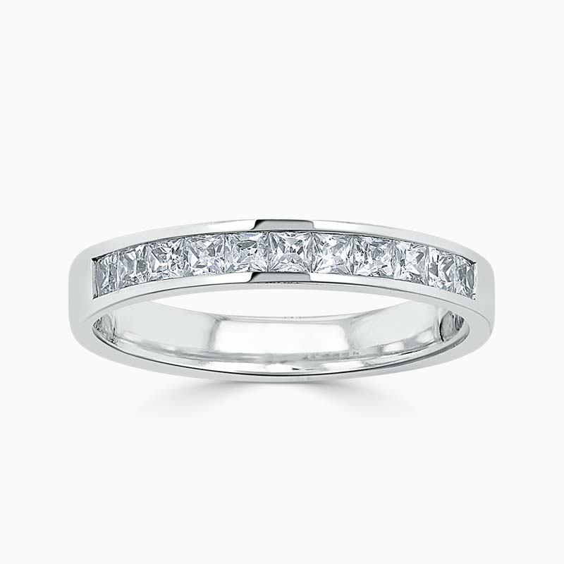 18ct White Gold 3.50mm Princess Cut Channel Set Half Eternity Ring