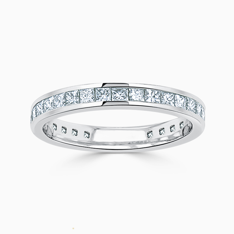 18ct White Gold 2.50mm Princess Cut Channel Set Three Quarter Eternity Ring