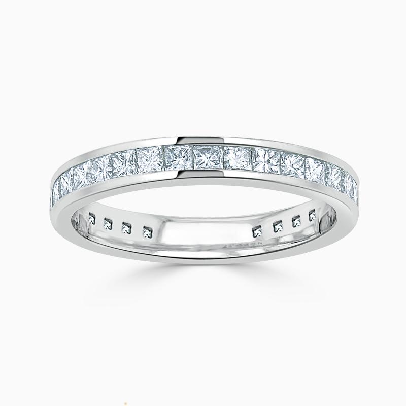18ct White Gold 3.00mm Princess Cut Channel Set Three Quarter Eternity Ring