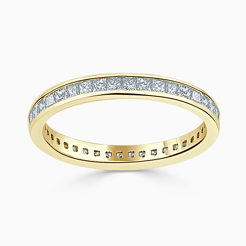 18ct Yellow Gold 2.50mm Princess Cut Channel Set Full Eternity Ring