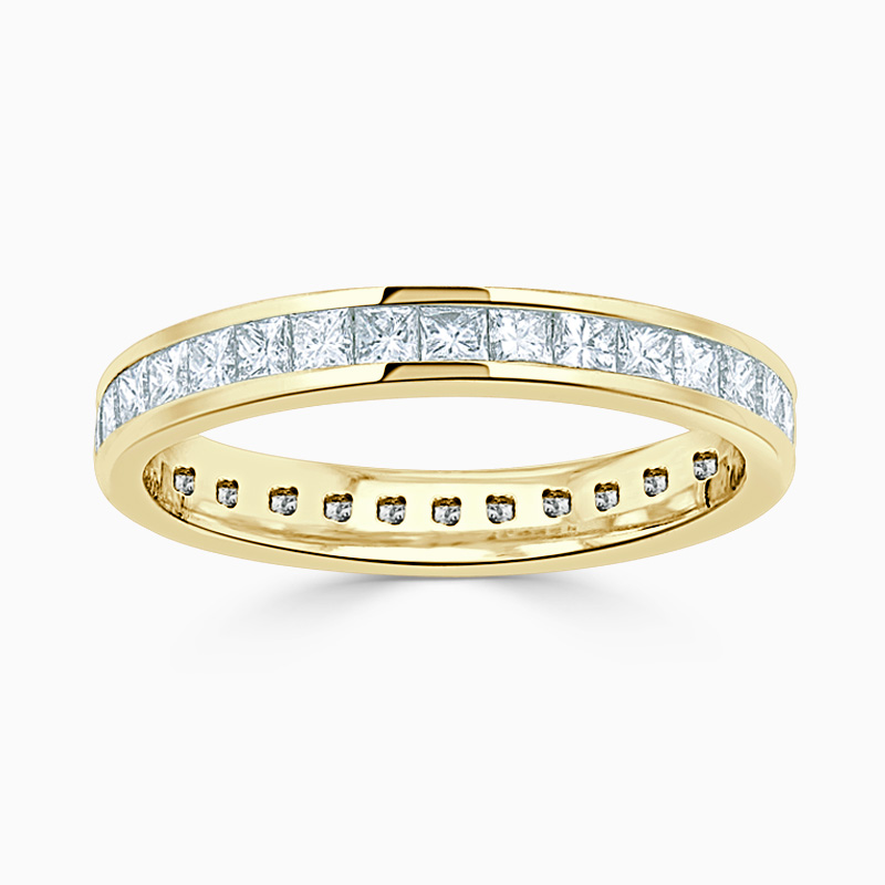 18ct Yellow Gold 3.50mm Princess Cut Channel Set Full Eternity Ring