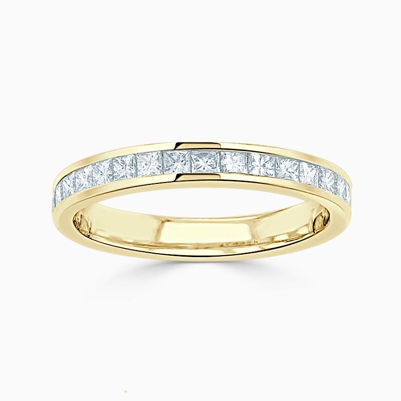 18ct Yellow Gold 2.50mm Princess Cut Channel Set Half Eternity Ring