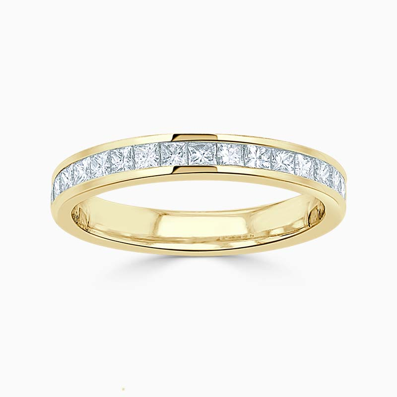 18ct Yellow Gold 3.00mm Princess Cut Channel Set Half Eternity Ring