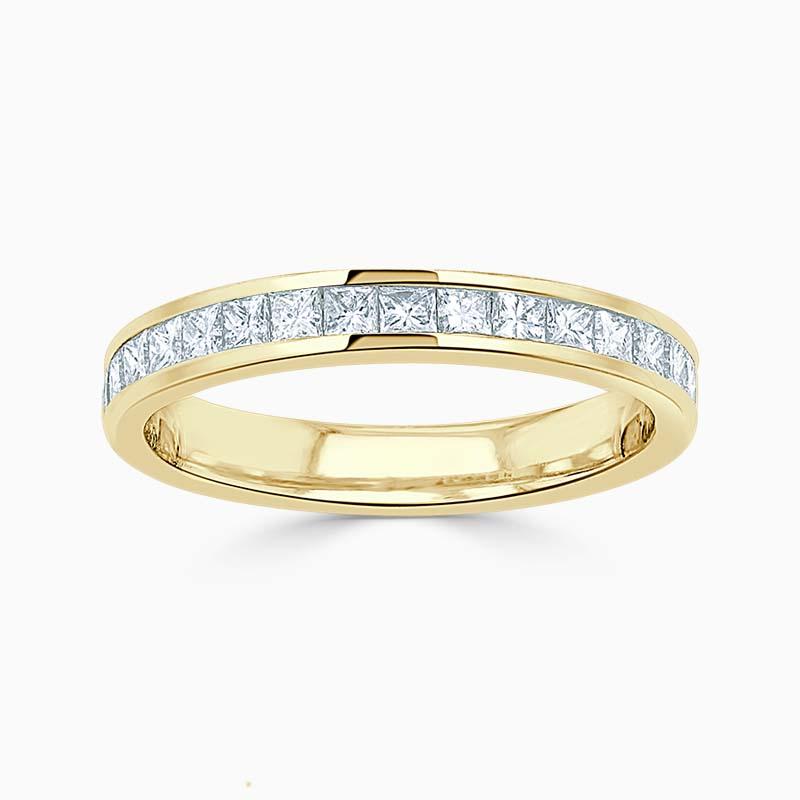 18ct Yellow Gold 3.00mm Princess Cut Channel Set Half Eternity Ring