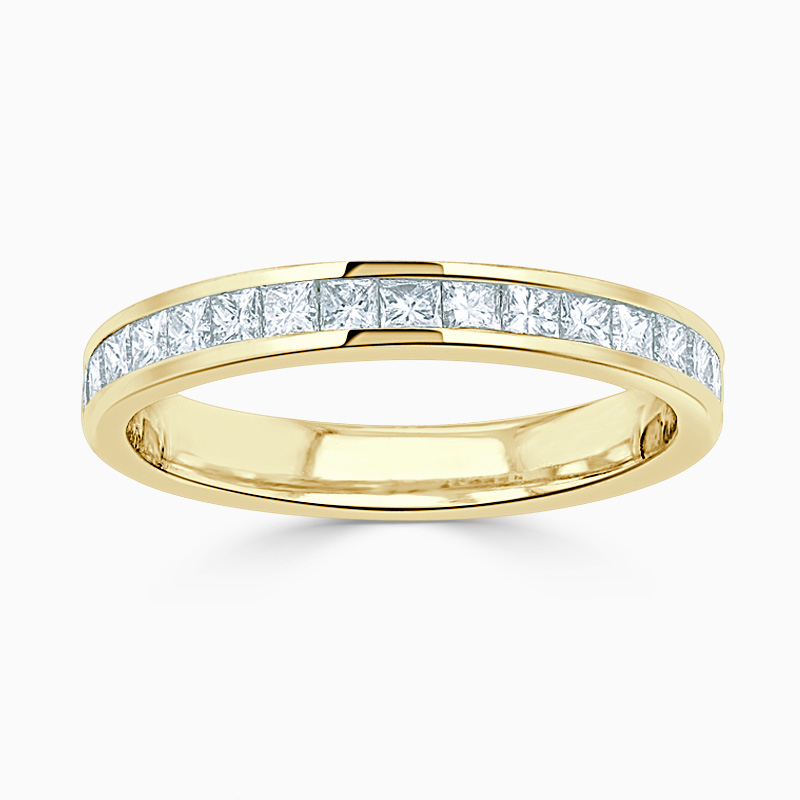 18ct Yellow Gold 3.25mm Princess Cut Channel Set Half Eternity Ring