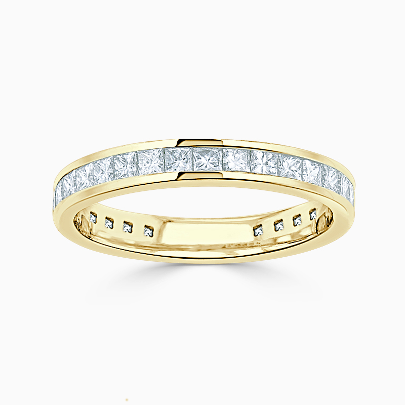 18ct Yellow Gold 2.75mm Princess Cut Channel Set Three Quarter Eternity Ring
