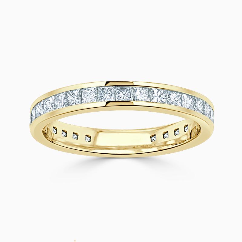 18ct Yellow Gold 3.00mm Princess Cut Channel Set Three Quarter Eternity Ring