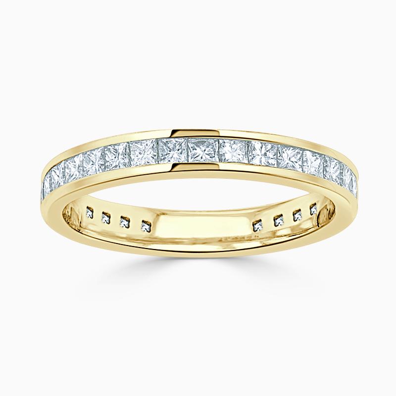 18ct Yellow Gold 3.25mm Princess Cut Channel Set Three Quarter Eternity Ring