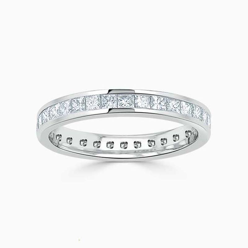 Platinum 3.00mm Princess Cut Channel Set Full Eternity Ring