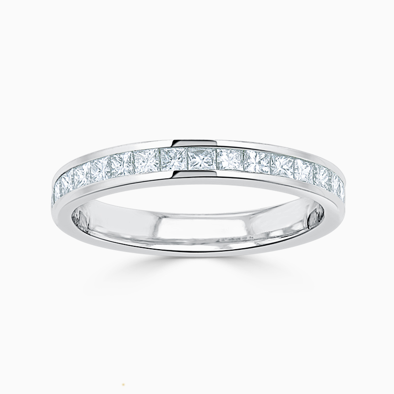 Platinum 2.50mm Princess Cut Channel Set Half Eternity Ring