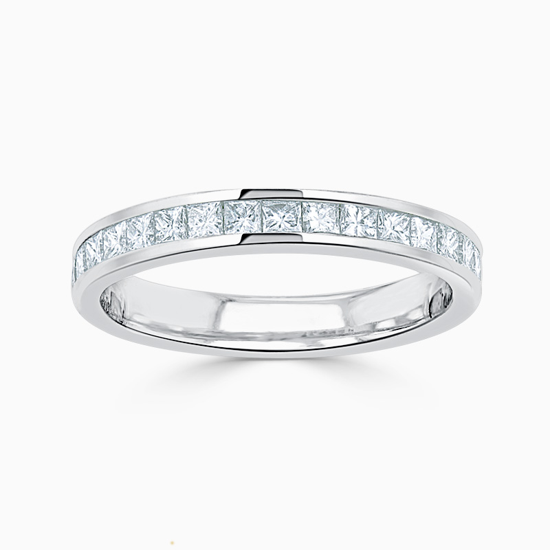Platinum 2.75mm Princess Cut Channel Set Half Eternity Ring