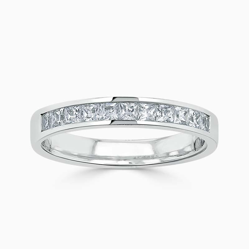 Platinum 3.50mm Princess Cut Channel Set Half Eternity Ring