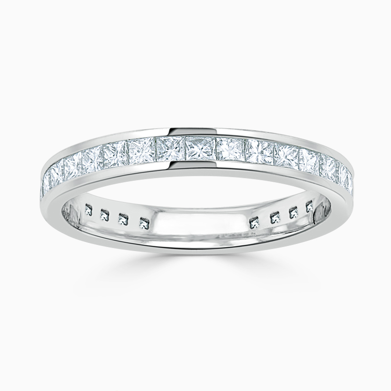Platinum 3.25mm Princess Cut Channel Set Three Quarter Eternity Ring
