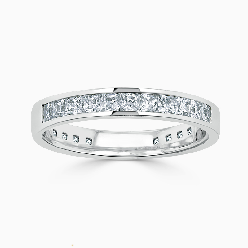 Platinum 3.50mm Princess Cut Channel Set Three Quarter Eternity Ring