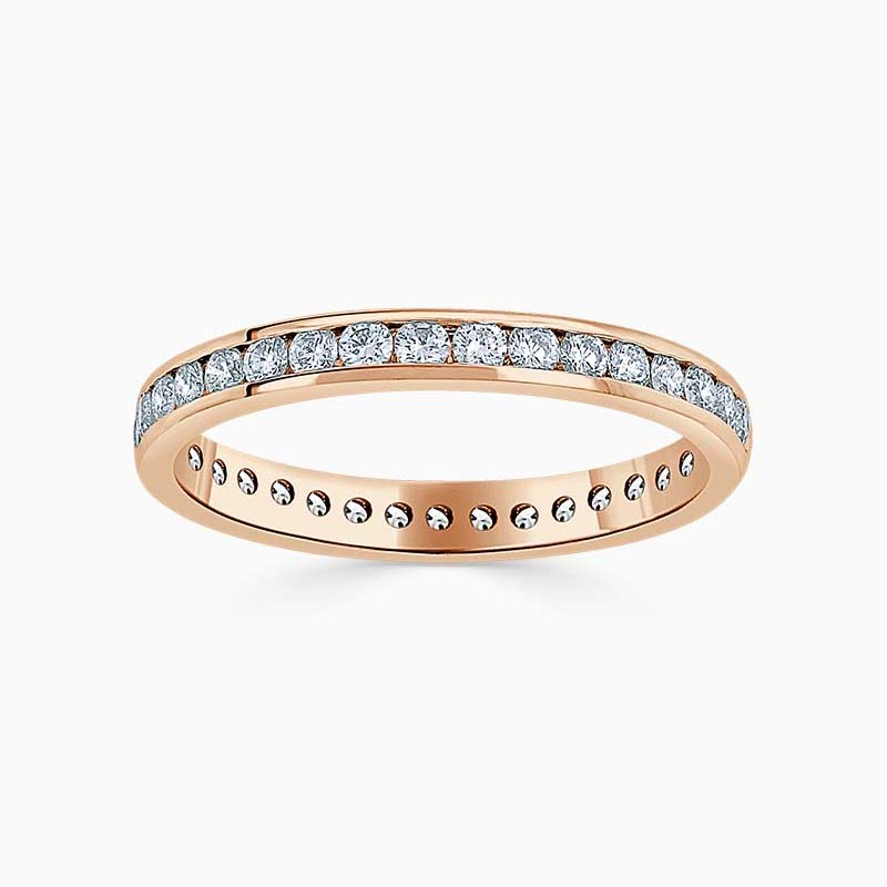18ct Rose Gold 2.75mm Round Brilliant Micro Pavé Set Half Eternity Ring