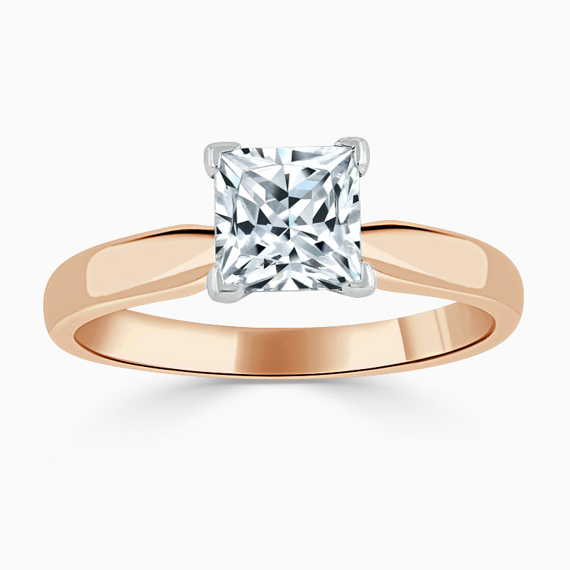 18ct Rose Gold Princess Cut High Set Engagement Ring
