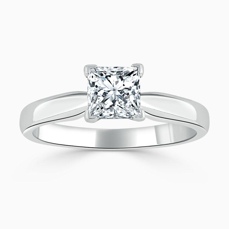 18ct White Gold Princess Cut High Set Engagement Ring