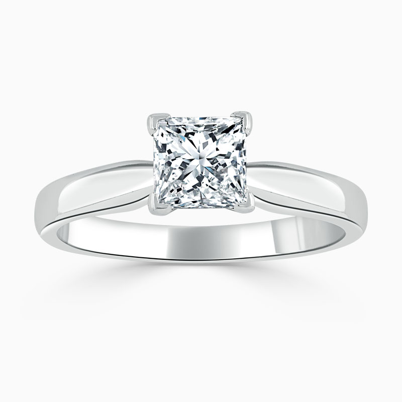 18ct White Gold Princess Cut High Set Engagement Ring