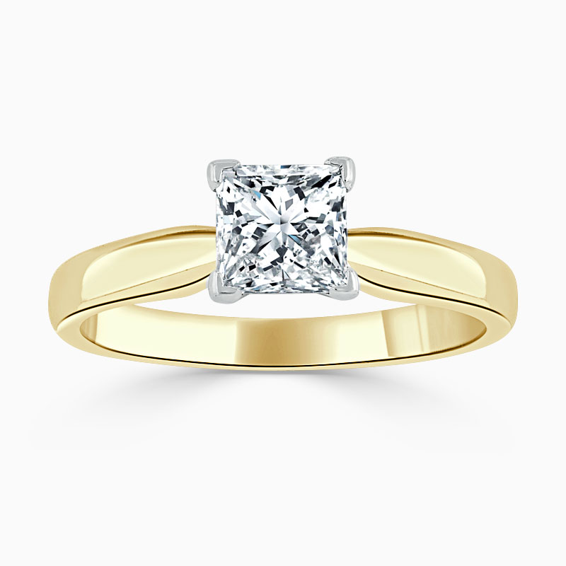 18ct Yellow Gold Princess Cut High Set Engagement Ring