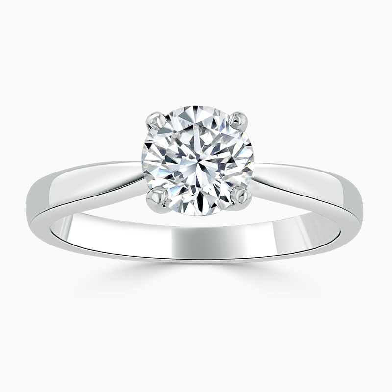 Platinum Round Brilliant High Set Engagement Ring