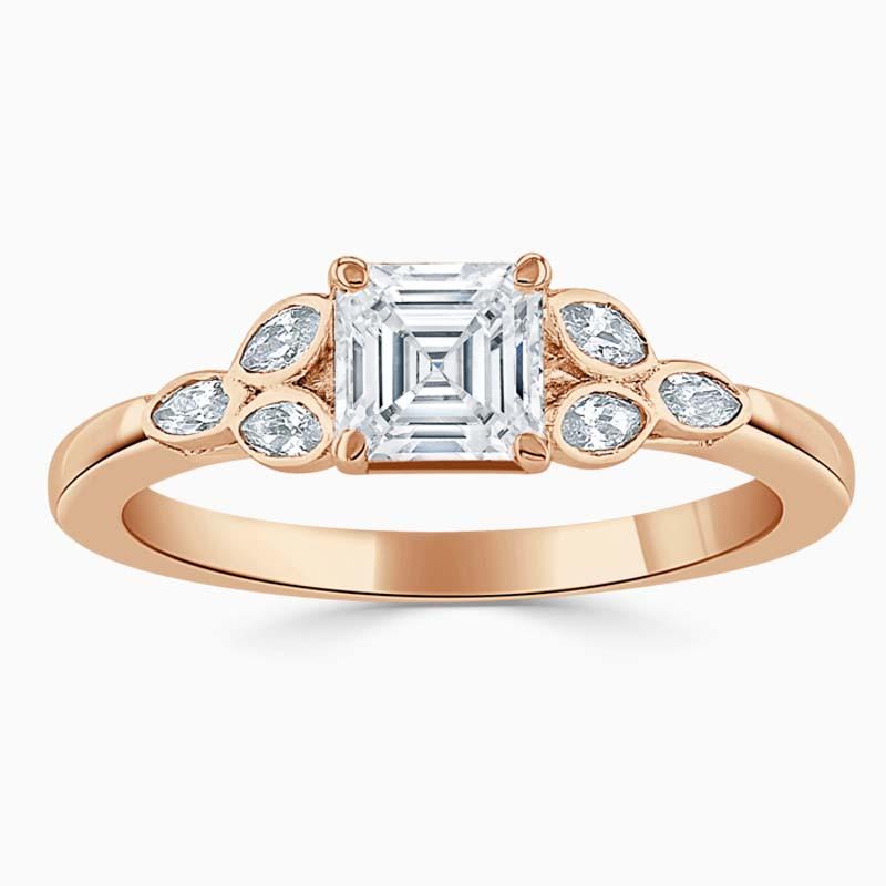 18ct Rose Gold Asscher Cut Leaf Engagement Ring