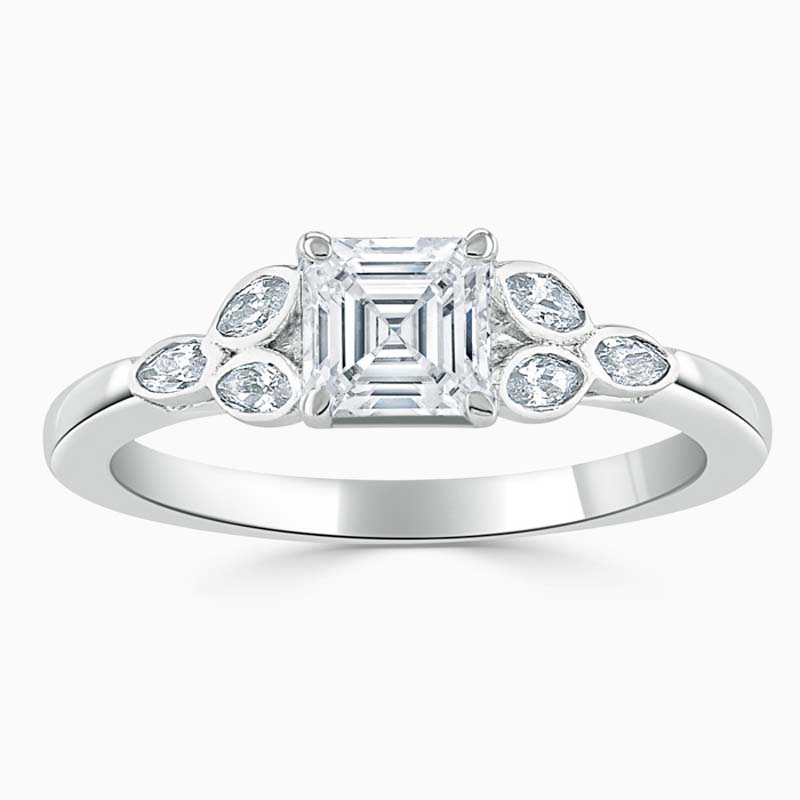18ct White Gold Asscher Cut Leaf Engagement Ring
