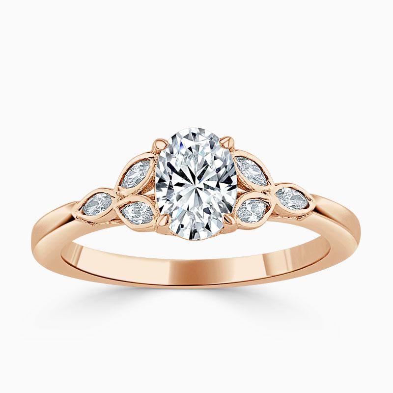 18ct Rose Gold Oval Shape Leaf Engagement Ring