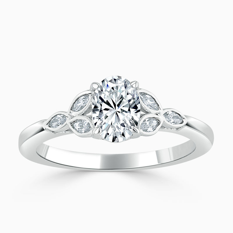 18ct White Gold Oval Shape Leaf Engagement Ring