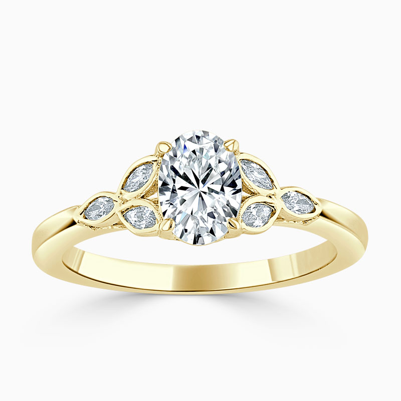 18ct Yellow Gold Oval Shape Leaf Engagement Ring
