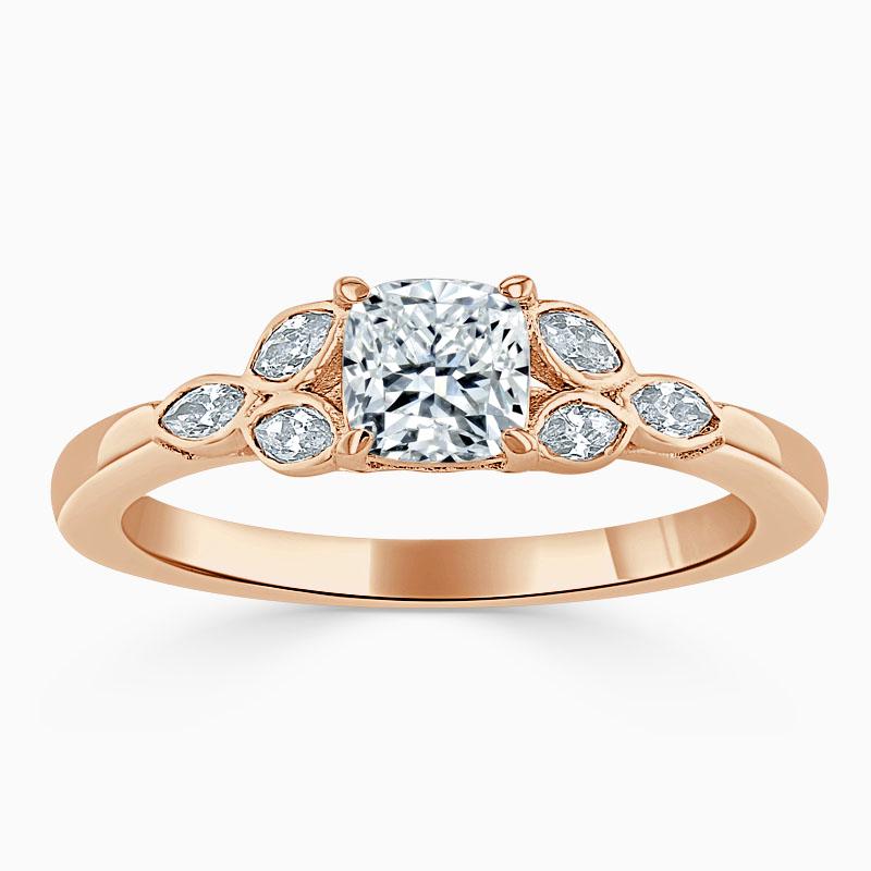 18ct Rose Gold Cushion Cut Leaf Engagement Ring